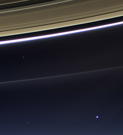 The New Pale Blue Dot image, taken by NASA's Cassini space probe. Can you see the Earth?