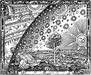 Bilde 1: Camille Flammarion's engraving of a curious wanderer. Kilde: Camille Flammarion., L'atmosphère : météorologie populaire (1888)