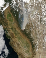 Satellite image of the Rim Fire, on August 23, 2013