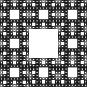 «Sierpinski Carpet». An antenna of this geometry can communicate at several different frequencies. Source: http://www.rupert.id.au/fractals/lesson/uses.php.