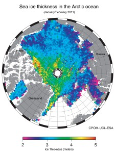 The first map of sea-ice thickness, January/February 2011, from ESA's CryoSat mission. Credit: CPOM-UCL-ESA