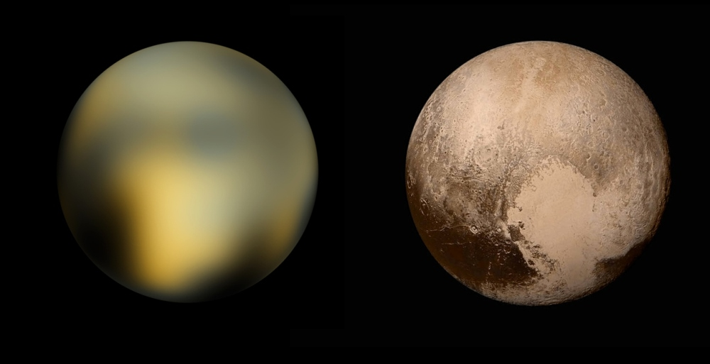 To the left: A 2010 map of Pluto reconstructed from Hubble Space Telescope data. Image to the right: Four images from New Horizons' LORRI were combined with color data from the Ralph instrument was used to create this global view of Pluto. Credit: NASA/JHUAPL/SwRI
